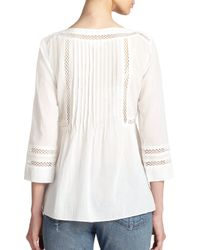 Rebecca Taylor - White Mesh-Trimmed Cotton Tunic - Lyst