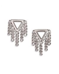 Marc By Marc Jacobs - Metallic Beat It Pointer Fringe Stud Earrings/silvertone - Lyst