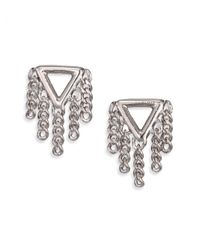 Marc By Marc Jacobs | Metallic Beat It Pointer Fringe Stud Earrings/silvertone | Lyst