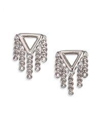 Marc By Marc Jacobs | Metallic Beat It Pointer Fringe Stud Earrings/silvertone | Lyst