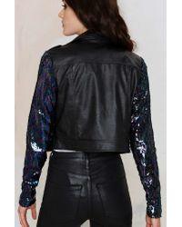 Nasty Gal | Black Sea Of Sequins Vegan Leather Moto Jacket | Lyst