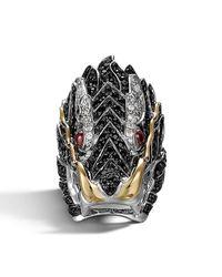 John Hardy - Black Pave Naga Dragon Head Ring - Lyst