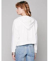 Free People - White Cropped Zip Hoodie - Lyst