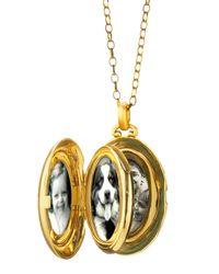 Monica Rich Kosann - Metallic Pave Diamond Satin Finish 4 Image Locket Necklace - Lyst