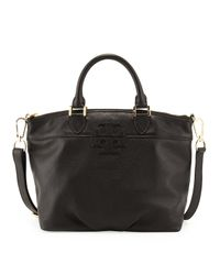 Tory Burch | Small Stackedt Leather Satchel Bag Black | Lyst