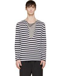 Yohji Yamamoto - Black White And Navy Striped T_shirt for Men - Lyst