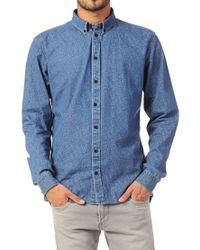 Minimum   Blue Acid Wash Denim Shirt for Men   Lyst