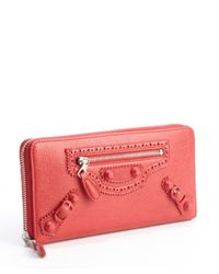 Balenciaga - Coquelicot Red Leather Arena Continental Wallet - Lyst