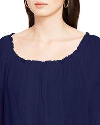 Ralph Lauren - Blue Lauren Cotton Eyelet Drawstring Top - Lyst