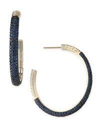 Slane - Large Cabarat Pave Blue Sapphire Hoop Earrings - Lyst