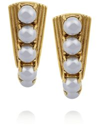 Elizabeth Cole | Metallic Gold-plated Swarovski Crystal And Pearl Earrings | Lyst