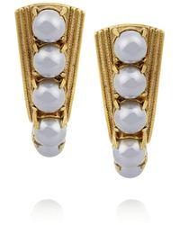 Elizabeth Cole   Metallic Gold-plated Swarovski Crystal And Pearl Earrings   Lyst