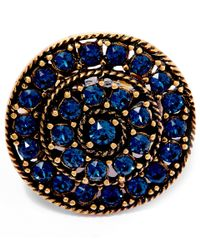 Oscar de la Renta - Blue Gold-plated Disk Ring - Lyst