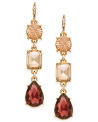 ABS By Allen Schwartz | Multicolor Gold-tone Triple Stone Linear Earrings | Lyst