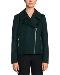 HUGO | Green 'fasilvi' | Virgin Wool Cashmere Blend Moto Jacket | Lyst