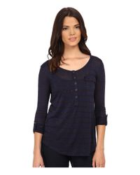 Splendid | Blue Striped Speckled Melange Henley | Lyst