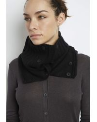 INHABIT | Black Luxe Cashmere Button-Up Neck Warmer | Lyst
