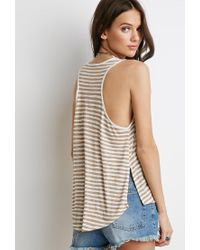 Forever 21 | Gray Striped Racerback Tank | Lyst