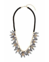 TOPSHOP | Black Grey Flower Rope Necklace | Lyst