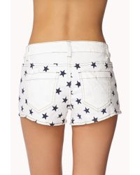 Forever 21 - Blue Stars & Stripes Denim Cutoffs - Lyst