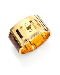 Michael Kors | Metallic Heritage Turnlock Tortoise-Print Bracelet | Lyst