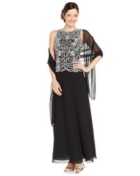 J Kara - Black Sleeveless Beaded Chiffon Gown And Shawl - Lyst