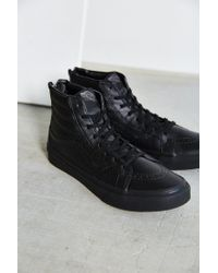 Vans - Black Sk8-hi Perforated Leather Zip Sneaker - Lyst