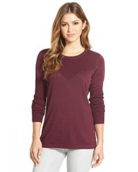 Vince Camuto | Purple Ribbed Yoke Sweater | Lyst