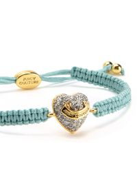 Juicy Couture | Blue Pave Heart Friendship Bracelet | Lyst