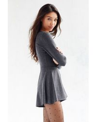 Kimchi Blue - Gray Square Neck Long-sleeve Romper - Lyst