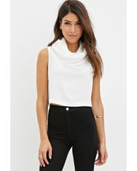 Forever 21 | Natural Cowl Neck Crop Top You've Been Added To The Waitlist | Lyst