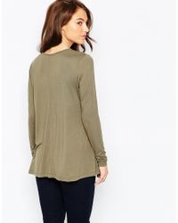 ASOS - Natural The Swing Top With Long Sleeves - Lyst