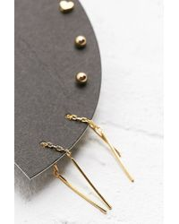 Urban Outfitters | Metallic Hoop Stud and Pull Through Earrings in Gold | Lyst