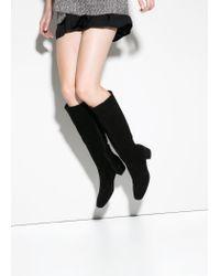 Mango   Black Suede High-Leg Boots   Lyst