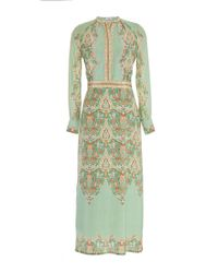 Vilshenko - Green Misha Ornate Scallop Silk Midi Dress - Lyst