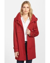 Gallery | Red Snap Front A-line Raincoat With Detachable Hood | Lyst