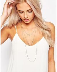 Oasis - Metallic Linear Chain Long Multirow Necklace - Lyst