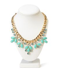 Forever 21 - Green Sparkling Floral Chain Necklace - Lyst
