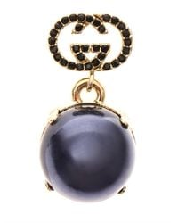 Gucci - Blue Crystal and Fauxpearl Earrings - Lyst