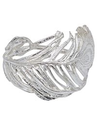 Alex Monroe - Metallic Silver Big Curled Peacock Feather Ring - Lyst