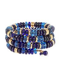 Lauren by Ralph Lauren - Blue Beaded Coil Bracelet - Lyst