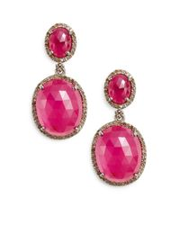 Bavna - Red Diamond, Faux Ruby & Sterling Silver Earrings - Lyst