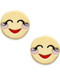kate spade new york | Metallic Gold-tone Blushing Emoji Stud Earrings | Lyst