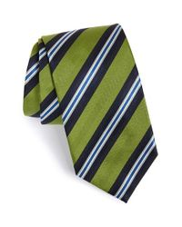 David Donahue | Green Stripe Silk Tie for Men | Lyst