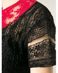 Valentino - Black Lace Panel Dress - Lyst