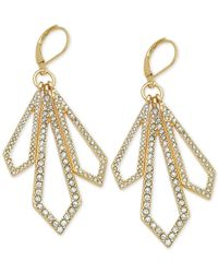 T Tahari | Metallic Gold-tone Crystal Geometric Drop Earrings | Lyst