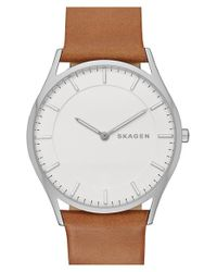 Skagen | Brown 'holst' Leather Strap Watch for Men | Lyst