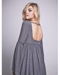 Free People - Gray Womens Duchess Babydoll Dress - Lyst