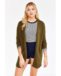 Silence + Noise - Green Ribbed-sleeve Open-front Cardigan - Lyst