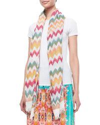 Tolani - Multicolor Chevron-print Cotton Scarf - Lyst